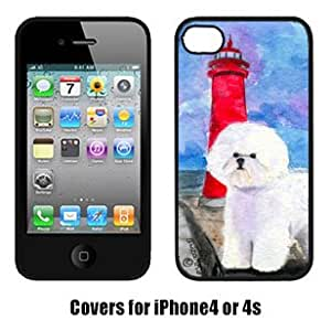 Carolines Treasures SS8891IP4 Lighthouse With Bichon Frise Cell Phone Cover Iphone4