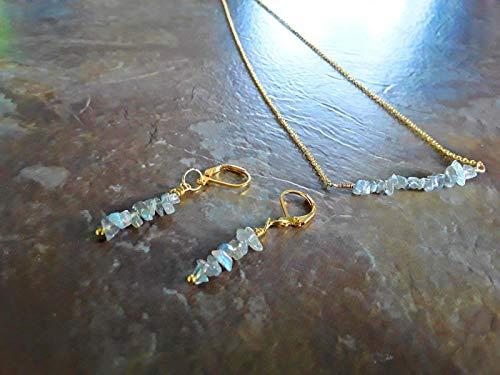 Rainbow Labradorite Pendant - Blue Rainbow Labradorite Classic Bar Pendant Necklace and Earrings Gift Set 18k Gold Plt Multiple Size Options