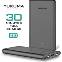 Yukuma Power Bank - Worlds Fastest Recharge - 30 Minutes - 10000 mAH - / Portable Fast Charger External Battery For Phones, Tablets, Cameras [German Engineered] (FCC, CE Certified) - Gray