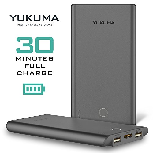 Yukuma Power Bank - World's Fastest Recharge - 30 Minutes - 10000 mAH - / Portable Fast Charger External Battery For Phones, Tablets, Cameras - Gray