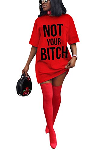Antique Style Women's Girls Summer Fashion Short Sleeve Letters Printed Plus Size Loose Tees Tunic Top Basic T-Shirts Blouse Club Dress Red L