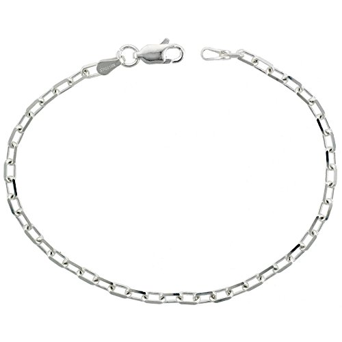 Chain Boston Link (Sterling Silver Boston Link Chain Necklace 3mm Beveled Links Nickel Free Italy, 22 inch)