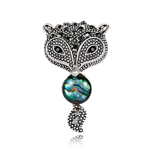 SKZKK Fox Silver Plated Metal Brooch Pins for Clothing AbalonePauaShell Broaches and Pins for Women Animal Gifts for Women Cute Pins Rhinestone Black Womens Jewelry