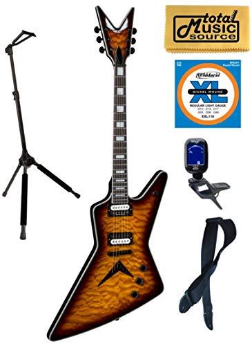 (Dean Z Select Quilt Top Electric Guitar, Trans Brazilia, Z SEL QM TBZ, Stand Bundle)