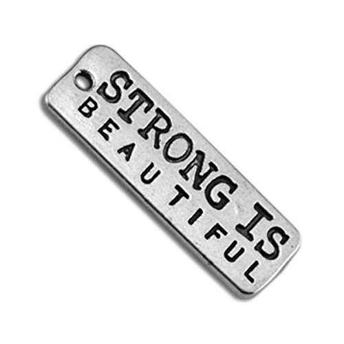 20pcs Strong is Beautiful Rectangle Wholesale Sports Charms Fitness Pendants