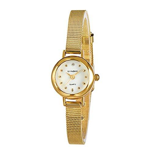 Women Small Strap Slim Mesh Wrist Watch Business Simple Designer Quartz Bangle Watch (Gold)