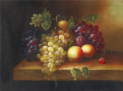 (Oil Painting 'Still Life With Fruits' Printing On Perfect Effect Canvas , 16x22 Inch / 41x55 Cm ,the Best Bar Decoration And Home Decor And Gifts Is This High Quality Art Decorative Canvas Prints)
