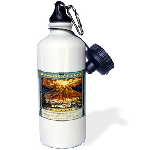 (3dRose Roaring March Two Step Erupting Volcano Cover-Sports Water Bottle, 21oz (wb_169961_1), 21 oz, Multicolor)