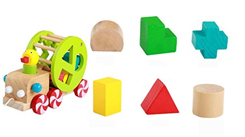 FunnyTown Wooden Pull And Push Along Toy For Baby And Toddler Multicolor Geometric Shape Development Toys For 1 And 2 Year Old Boys And Girls