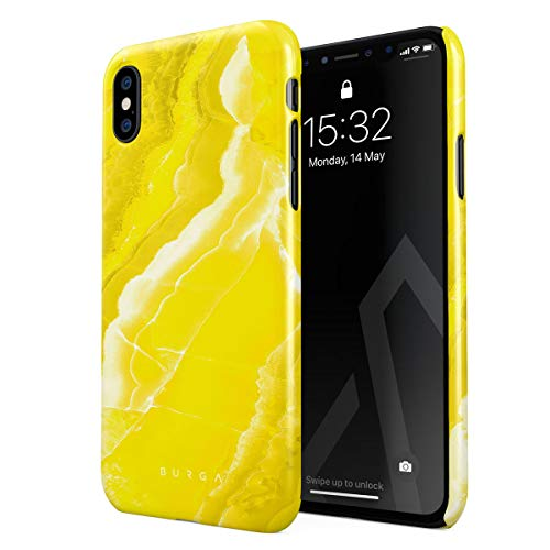 BURGA Phone Case Compatible with iPhone X/XS Neon Yellow Marble Citrus Stone Summer Vibes Cute for Girls Vivid Bright Thin Design Durable Hard Plastic Protective Case