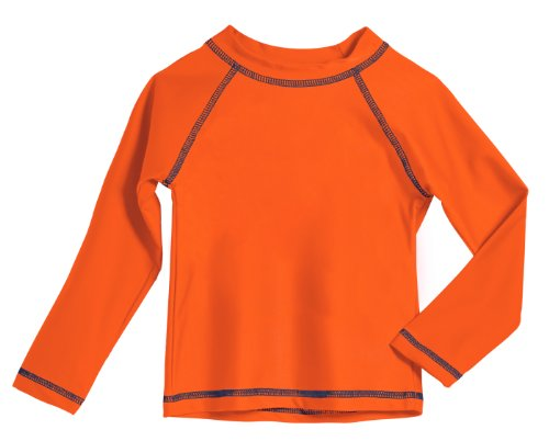 (Little Boys' and Girls' Solid Rashguard Swimming Tee Shirt Rash Guard SPF Sun Protection for Summer Beach Pool and Play, L/S Orange,)