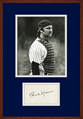 Rare Thurman Munson Signed Autograph Display. Mint 9 - PSA/DNA Certified - MLB Player Plaques and Collages