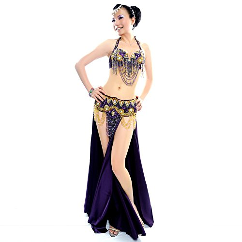 ROYAL SMEELA Professional Belly Dance Costume for Women Purple Belly Dance Bra and Hip Belt and Long Dance Skirt Sexy Belly Dancing Apparel 3pcs, Large Size -