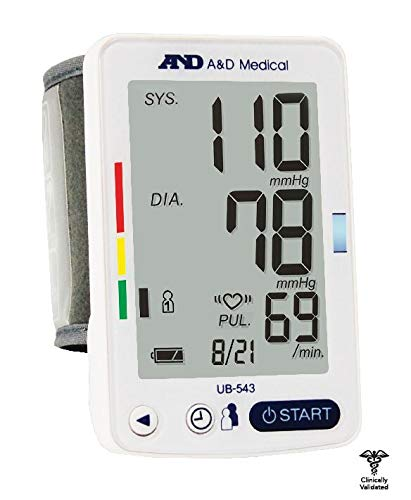 - A&d Medical Wrist Blood Pressure Monitor with Large Display for Multiple Users, (5.3 Inch to 8.5 Inch)