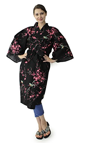 Japanese Women's Kimono Robe Happi Coat Dress Cotton Bird Plum Black by Kimono Japan (Image #1)