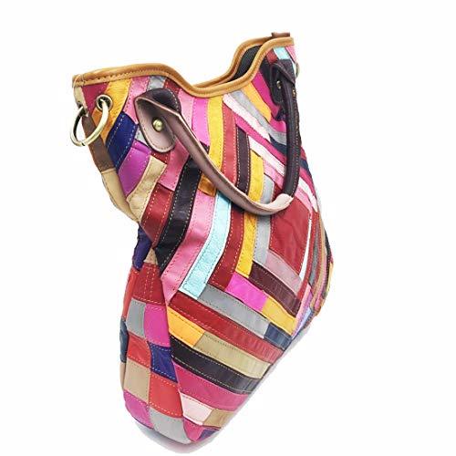Ladies Gran Black Uzanesx Tot Colour Patchwork Color Cuero Oveja Genuino Almacenamiento Equipaje color Diagonal Hombro De Bolsa Capacidad Bag 6wxT67Cqr