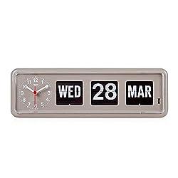 twemco Homeloo x German Quartz Retro Modern Calendar Wall Flip Clock BQ 38 (Gray)