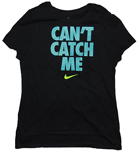 NIKE Girl's Graphic T Shirt Can't Catch Me Cotton Black (m)