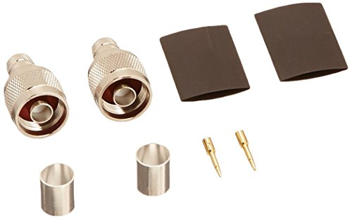 N Male Crimp  Connector for LMR400 RG8 Nickel Machined Brass Construction, 2-Pack (400 Antenna Extension Cable)