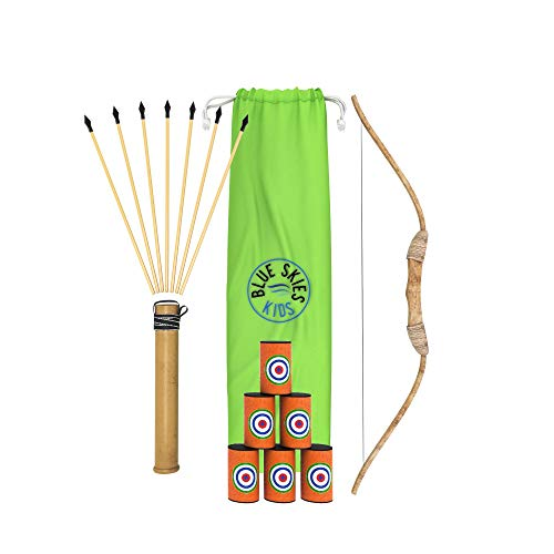Blue Skies Goods Bow and Arrow for Kids with Wooden Bow, Knock-Down Targets, Quiver, 8 Arrows and Carry Bag. Toy Bow and Arrow with 5 Year Warranty. Great Bow and Arrow Set for Kids. (Single) -