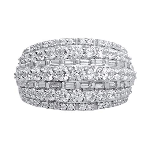 Sterling Silver Round and Baguette Diamond Cocktail Band Ring (2 cttw, H-I Color, I2-I3 Clarity), Size 7