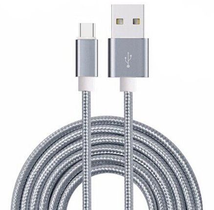 ONX3 (Grey) Premium Quality 3 Meter Micro USB Cable Nylon Braided With High Speed Charging and Data Transfer for BlackBerry Porsche Design P'9983 (Full Housing Xperia P compare prices)