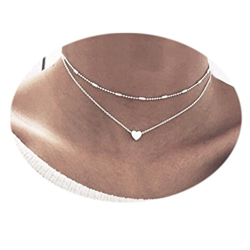 Simple Double Layers Love Heart Pendant Choker Necklace for Girl Women (Double Star Necklace)