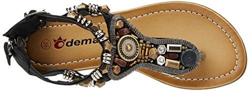 Noir perles Plat Odema Antique Coin Clip Sandales Boheme Talon Femme Ete Orteil Main wwq07AF