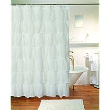"Gee Di Moda Gypsy Ruffled Shower Curtain White 70"" wide x 72"" long"