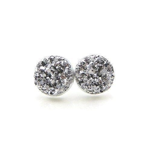 Faux Druzy Stone Earrings Hypoallergenic Metal-Free Plastic Posts, Silver-Tone, 12mm