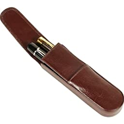 Aston Leather Brown Round Bottom Double Pen Box