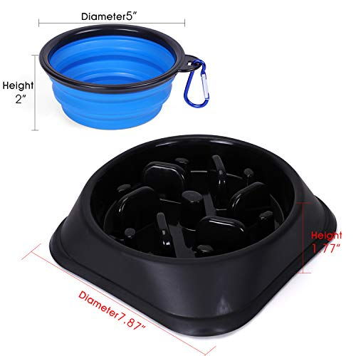 JASGOOD Slow Feeder Dog Bowl with Collapsible Dog Bowl-Puppy Puzzle Dog Food Bowl,Fun Feeder No Choking,Slow Eating Dog Bowl for Medium Dogs(Black,for S & M Dogs)