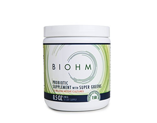 BIOHM Super Greens: Probiotic Supplement with Organic Super Greens, for Digestive Health and Flora, Superfood High in Fiber Drink Mix, Powder Formula 240g