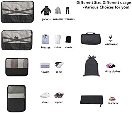 Sarazong 7 Pcs Packing Cube,Luggage Packing Organizers Bags Set Travel Luggage Packing Organizers Multi-Functional Clothing Sorting Packages,D