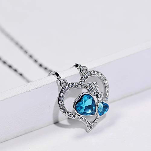 1ff6950d Nicole Silver Co. Beautiful Elegant Ocean Blue Double Hearts Rhinestones  Pendant Necklace from Swarovski Crystal Women Fashion Jewelry Luxury Gift  Box