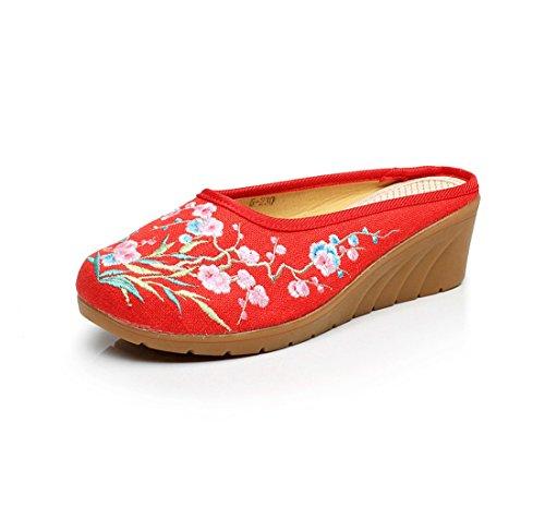 Antiguos y Zapatos Tela Estilo de Baotou de de Zapatos Zapatillas Pendientes Bordados Gules Chino Mujer 1Z4UvnY