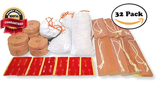 Cascadia Essentials 32 Pack Moth Repellent Cedar Blocks for Clothes Storage w/ Adhesive Hangers | Air Purifying Cedar Hang-Ups, Sachets And Rings | Natural Fragrance Deodorizer Closet, Pantry, Drawer