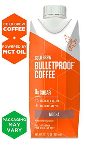 Bulletproof Cold Brew Coffee, Chocolate Flavor, Keto Friendly, Sugar Free, with Brain Octane MCT oil and Grass-fed Butter (12 pack)