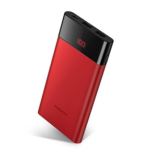 Slim Portable Charger,Power Bank 10000mah, PISEN Battery Pack with LED Display, Dual USB External Battery Charger [Anti-Fingerprint] Compatible for iPhone, iPad, Samsung, Nexus and More (Red) ()