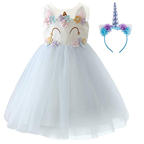 Girls Unicorn Dress up Costume Princess Dressing Gown Tulle Tutu Skirt Headband Halloween Birthday Party Outfits for Kids Pageant Wedding Casual Photography Props Cosplay 2Pcs Set Light Purple 9-10Y by OwlFay