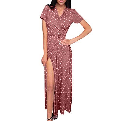 - Women's Casual Wrap V Neck Short Sleeves Polka Dot Printed Boho Beach Midi Dress Split Beach Dress Sundress Pink