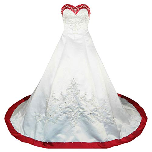 063778e7628e5 RohmBridal Sweetheart A-line Wedding Dress Bridal Gown Ivory Red Size 20