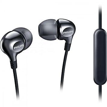 Philips Vibes SHE3705BK - Auriculares in-Ear (micrófono para Cambiar Entre la música y Las Llamadas telefónicas, 3 Auriculares de Goma Intercambiables), ...