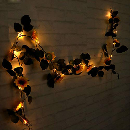 LED Light String, Elevin(TM) Halloween 1.8M LED Lighted Fall Autumn Pumpkin Maple Leaves Garland Decor -