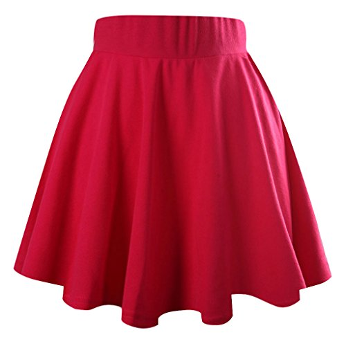 jntworld Women's Basic A Line Stretch high Waist Flared Plain Pleated Skater mini skirt, XL, hot pink ()