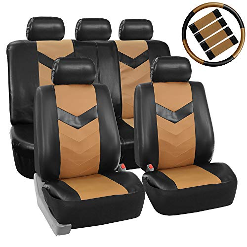 FH Group PU023115 Synthetic Leather Seat Covers, Airbag & Split Ready w. Steering Wheel Cover & Seat Belt Pads, Beige/Black Color- Fit Most Car, Truck, SUV, or Van