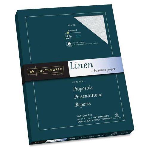 Wholesale CASE of 15 - Southworth 25% Cotton Linen Business Paper-Linen Paper, 24 lb., 8-1/2''x11'', 100 Sheets/BX, White by sou
