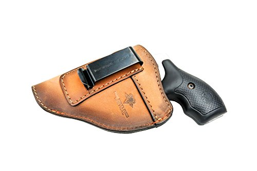 The Defender Leather IWB Holster - Fits Most J Frame Revolvers Incl. Ruger LCR, S&W 442/642, Taurus, Charter & Most .38 Special Revolvers - Made in USA - Charred Oak - Left Handed -