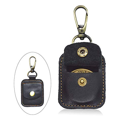 AA Medallion or Coin Holder, Leather Key Chain Snap Open Leather Case (Black) (Medallion Keychain Holder)