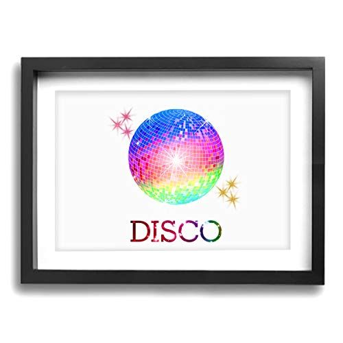 CLLSHOME 12x16 Inches Wall Decor Toilet Bathroom Framed Art Print Picture Neon Disco Ball Wall Art for Home Decorations ()